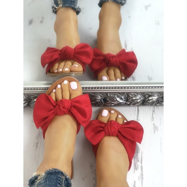 Red Summer Women's Slide Sandals Open Toe Flats with Bow image 4