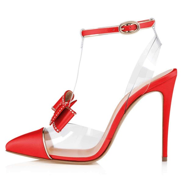 Red T Strap Pumps PVC Bow Stiletto Heel Pumps image 2