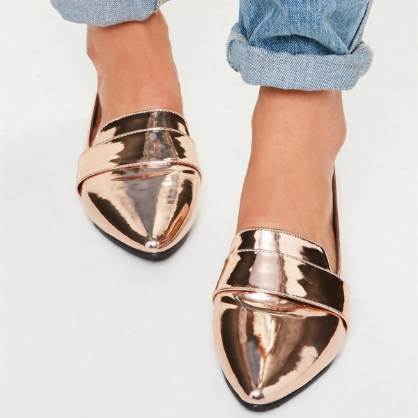 Rose Gold Mirror Leather Loafers for