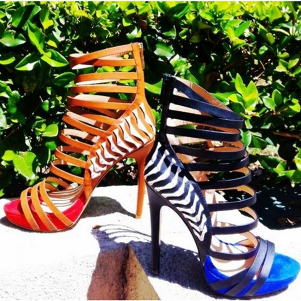 Tan Heels Open Toe Platform Strappy Stiletto Heel Sandals image 4