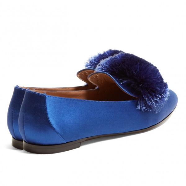 Royal Blue Square Toe Pom Pom Shoes Comfortable Loafers for Women image 2