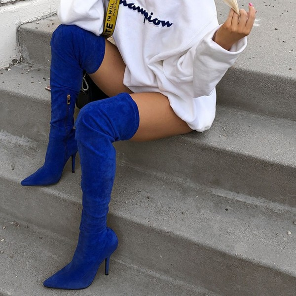 Royal Blue Suede Thigh High Heel Boots for Women image 4