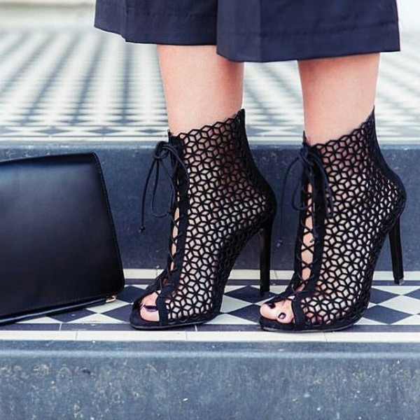 Black Laser cut Lace up Heels Peep Toe Hollow out Summer Boots image 1