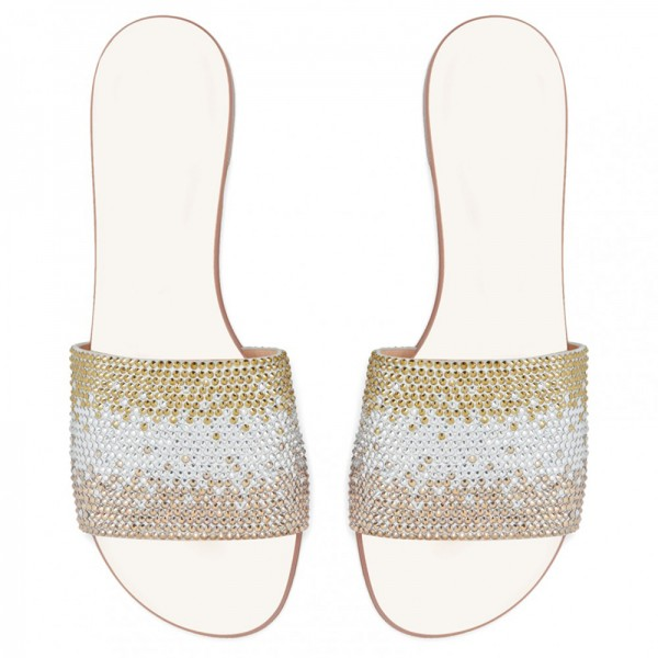 Silver and Gold Rhinestones Women's Slide Sandals image 4