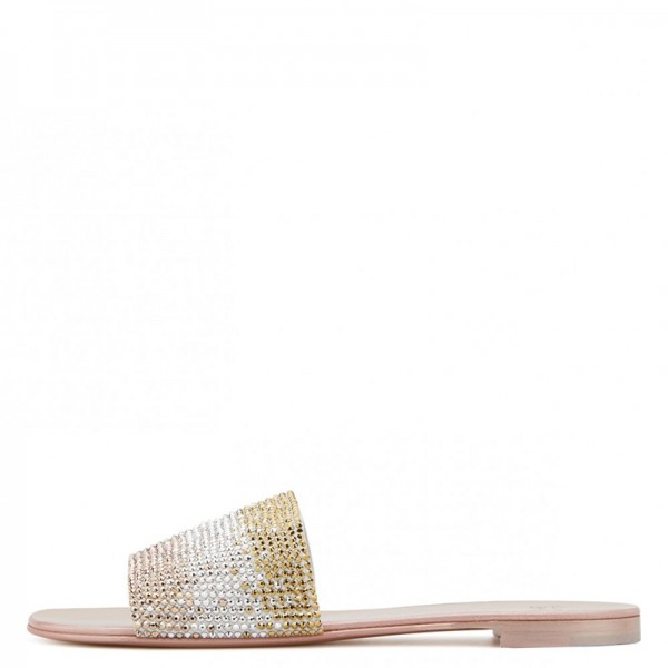 Silver and Gold Rhinestones Women's Slide Sandals image 2