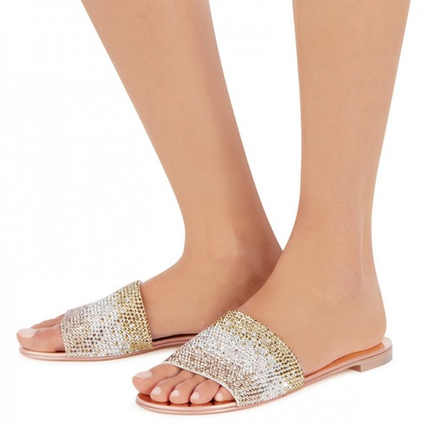 Silver and Gold Rhinestones Women's Slide Sandals image 3