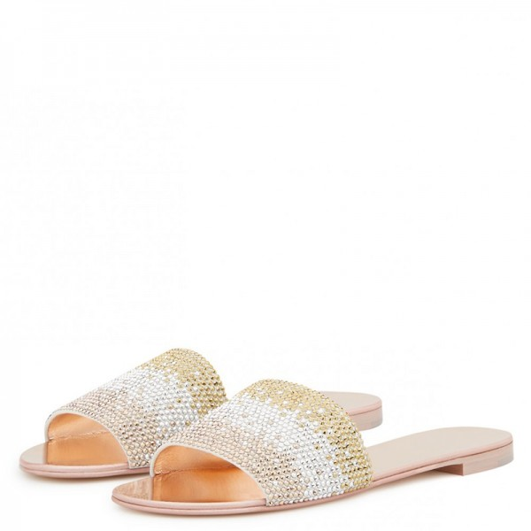 Silver and Gold Rhinestones Women's Slide Sandals image 1