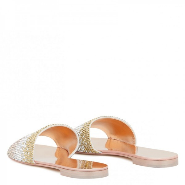 Silver and Gold Rhinestones Women's Slide Sandals image 5