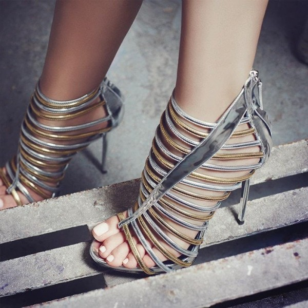 Silver and Gold Strappy Sandals Gladiator Heels Stiletto Heel image 2