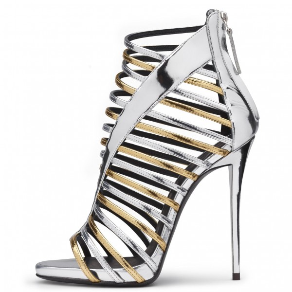 Silver and Gold Strappy Sandals Gladiator Heels Stiletto Heel image 3