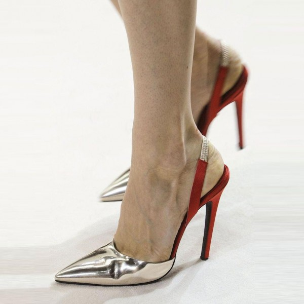 Silver Slingback Pumps Pointy Toe Metallic Heels Office Shoes image 1