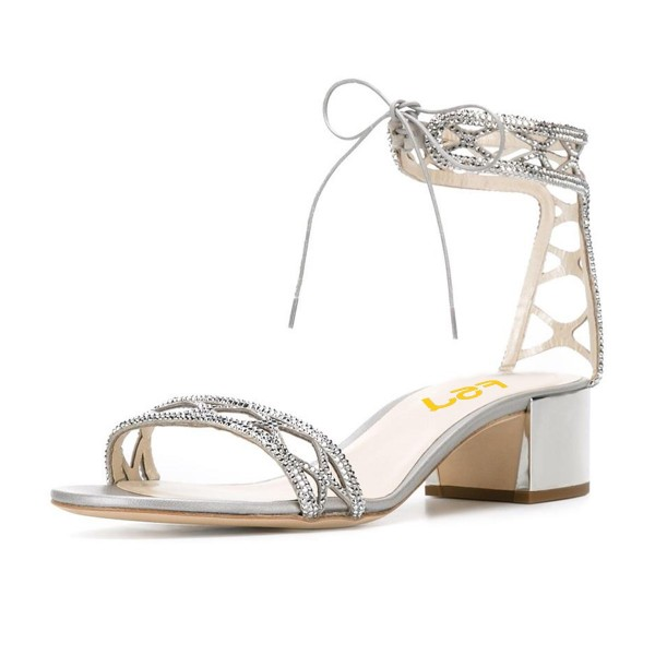 55846e6a7e4 Silver Block Heel Sandals Ankle Strap Open Toe Strass Shoes for Work ...