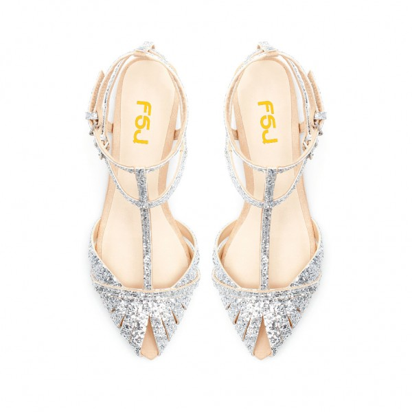 Silver Wedding Flats T Strap Glitter Shoes for Bridesmaid image 6