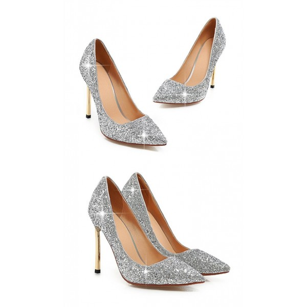 Silver Glitter Shoes Pointy Toe Blade Stiletto Heel Sparkly Pumps image 3