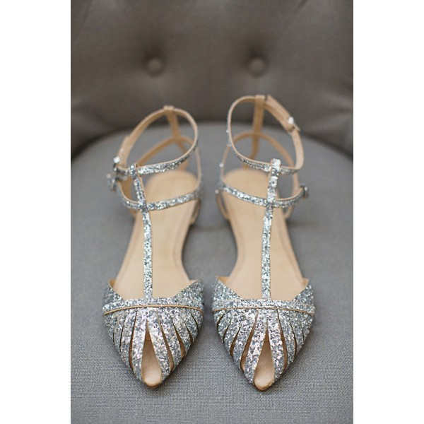 Silver Wedding Flats T Strap Glitter Shoes for Bridesmaid image 5