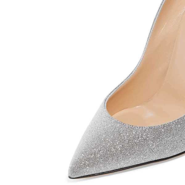 Silver Glitter Shoes Stiletto Heel Pumps image 3