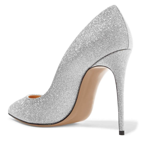 Silver Glitter Shoes Stiletto Heel Pumps image 4