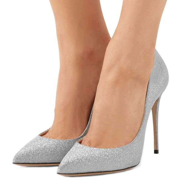 Silver Glitter Shoes Stiletto Heel Pumps image 1