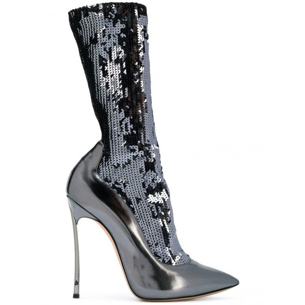 Silver Sequin Boots Metallic Pointy Toe Blade Heel Mid Calf Boots image 2