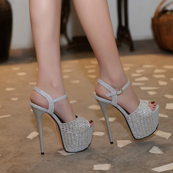 Silver Sexy Shoes Peep Toe Sparkly Platform Sandals image 2