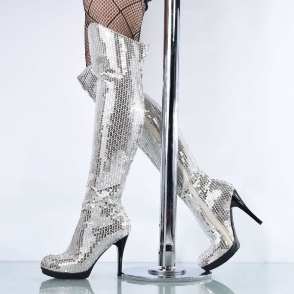 Silver Sequin Boots Closed Toe Over-the-Knee Stripper Boots image 1