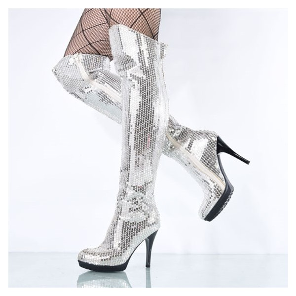 Silver Sequin Boots Closed Toe Over-the-Knee Stripper Boots image 2