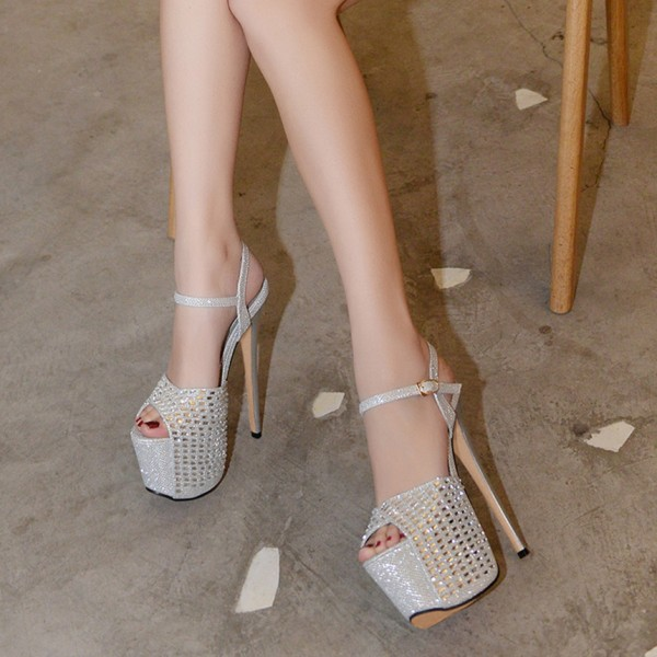 Silver Sexy Shoes Peep Toe Sparkly Platform Sandals image 3