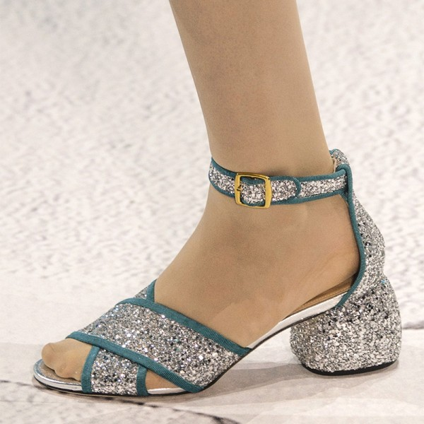 Silver and Blue Glitter Shoes Ankle Strap Block Heel Sandals image 1