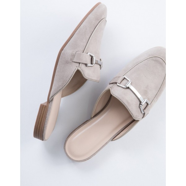 Grey Suede Loafer Mules Comfy Round Toe Flat Loafers for Women image 3