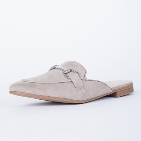 Grey Suede Loafer Mules Comfy Round Toe Flat Loafers for Women image 1
