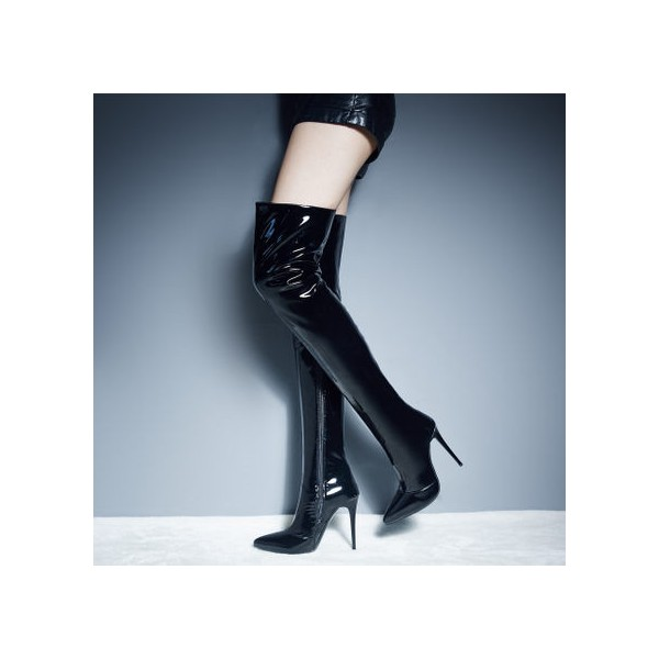 Black Thigh High Heel Boots Patent Leather Stiletto Heel Long Boots image 1