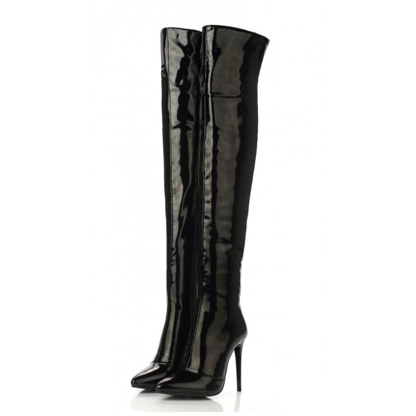 Black Thigh High Heel Boots Patent Leather Stiletto Heel Long Boots image 4