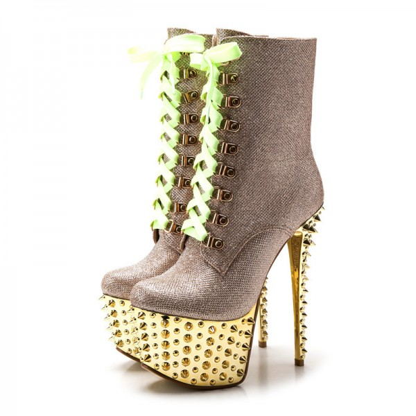Gold and Champagne Rivets Stripper Shoes Platform Lace Up Ankle Boots image 1