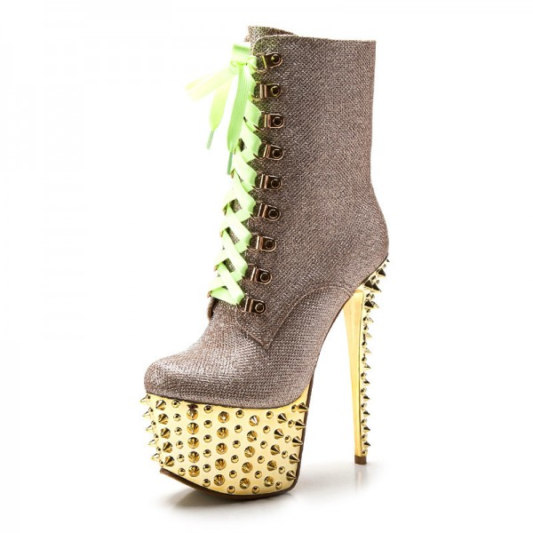 Gold and Champagne Rivets Stripper Shoes Platform Lace Up Ankle Boots image 4
