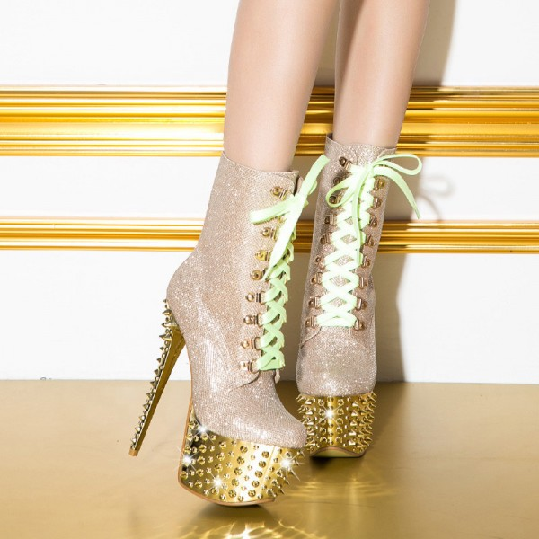 Gold and Champagne Rivets Stripper Shoes Platform Lace Up Ankle Boots image 3