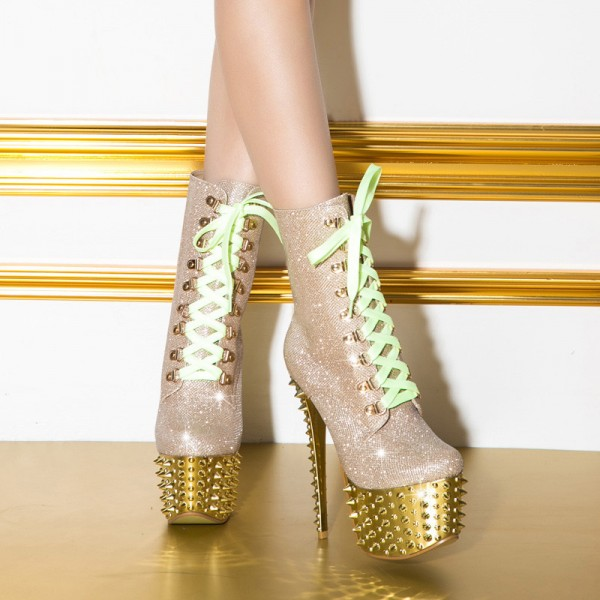 Gold and Champagne Rivets Stripper Shoes Platform Lace Up Ankle Boots image 2