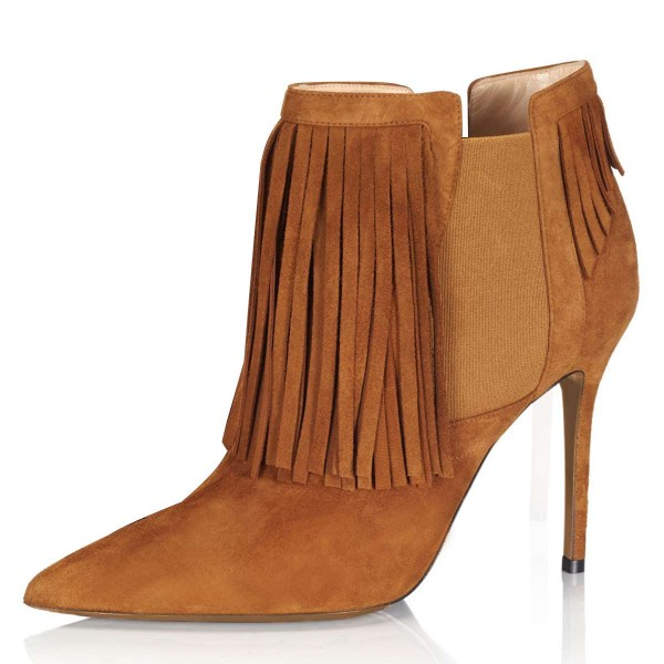 Tan Suede Fringe Boots Stiletto Heel Chelsea Boots image 1