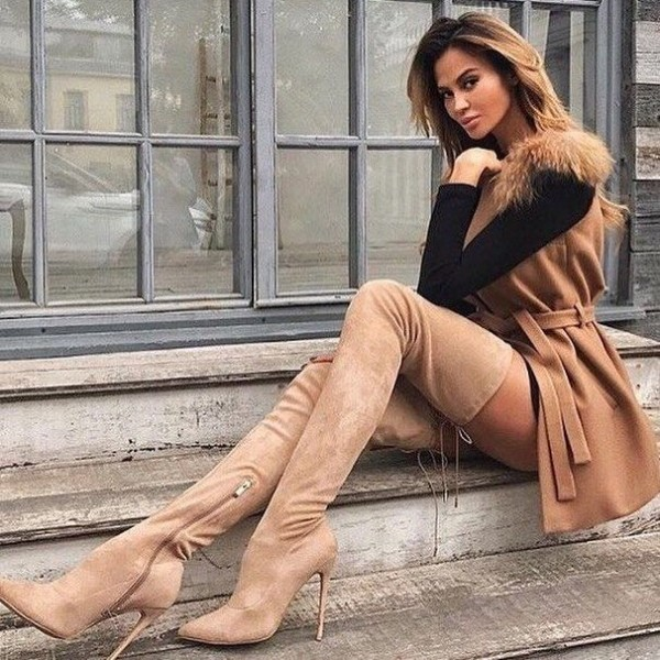 Tan Suede Thigh High Heel Boots image 1