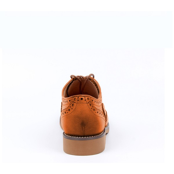 Tan Women's Oxfords Lace Up Heels Brogues Chunky Heels Vintage Shoes image 2
