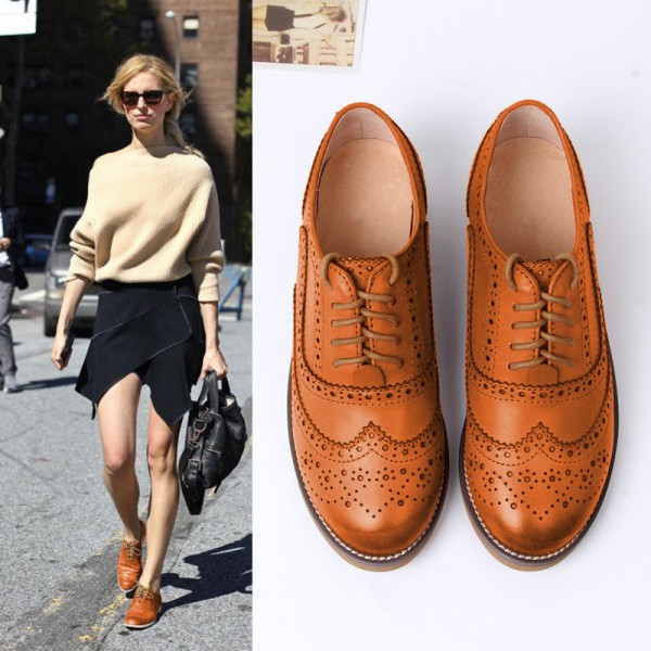 Tan Women's Oxfords Lace Up Heels Brogues Chunky Heels Vintage Shoes image 3