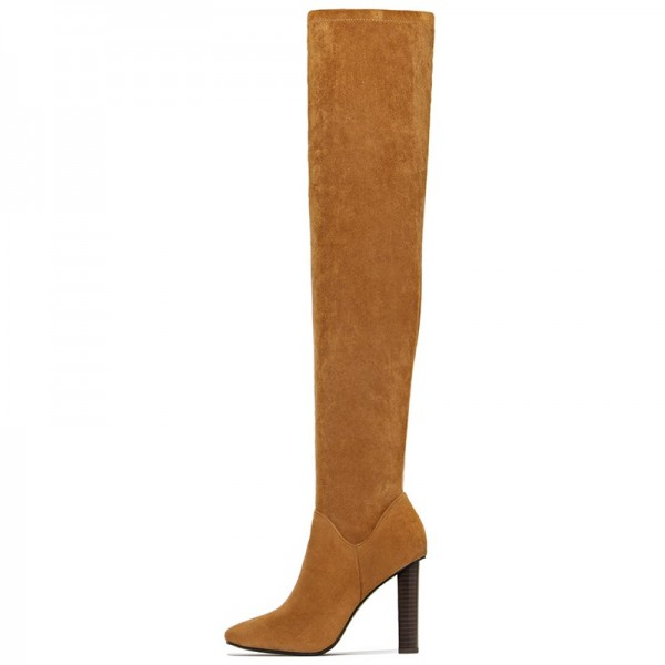 Tan Zipper Suede Boots Almond Toe Chunky Heel Thigh High Boots image 1