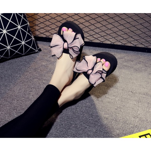Black Platform Women's Slide Sandals Open Toe Pink Bow Slides Shoes image 6