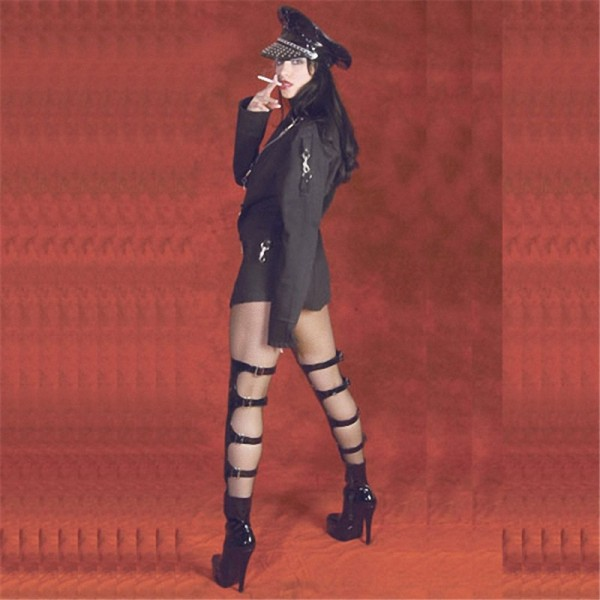 Black Stripper Shoes Patent Leather Buckles Thigh High Boots image 2