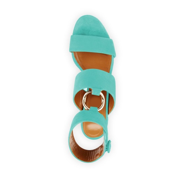 Turquoise Ankle Strap Block Heels Sandals image 2