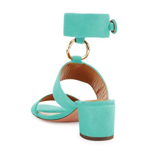 Turquoise Ankle Strap Block Heels Sandals image 3