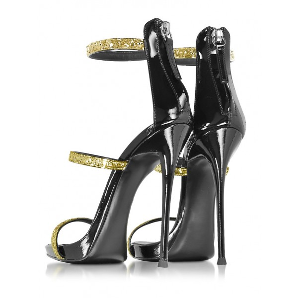 Gold Sparkly Heels Glitter Sandals Stiletto Heels Prom Shoes image 2
