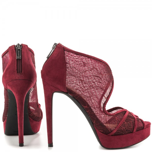 Burgundy Lace Heels Cutout Platform Vampire Pumps for Halloween image 3