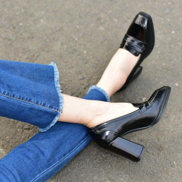 Black Block Heel Square Toe Heeled Loafers for Women image 3
