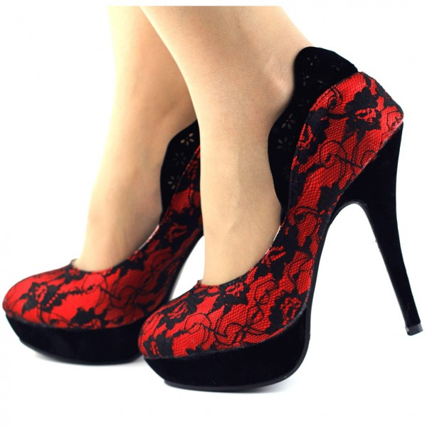 Red Lace Heels Vampire Platform Pumps for Halloween image 1