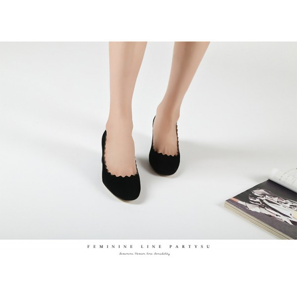 Black Curve Chunky Heels Comfortable Flats Almond Toe Commuting Shoes image 5